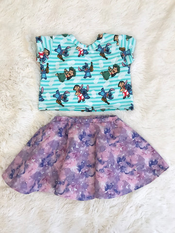 High-Waisted Lined Skirt || Purple Watercolor