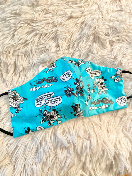 Turquoise Vintage Mickey Face Mask