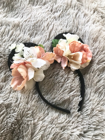 Cream & Blush Mouse Ears // One-of-a-kind Floral Crown