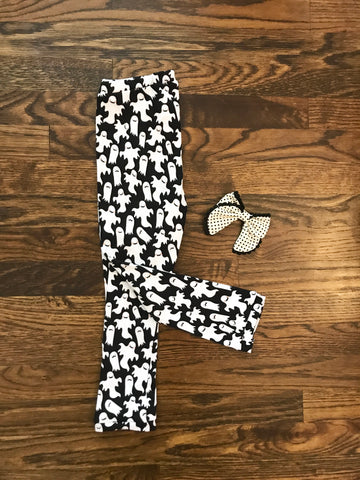 #608 || 12-18m || Black & White Ghosts Cotton Knit Leggings