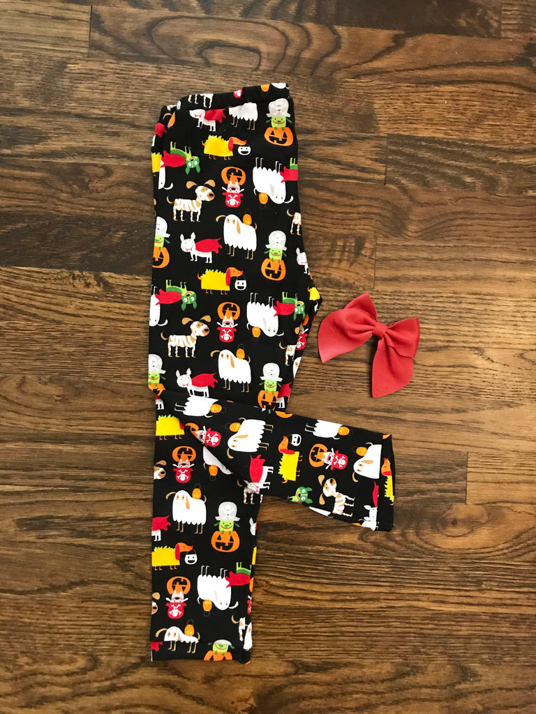 6-9m & 9-12m || Dogs in Costumes Cotton Knit Leggings