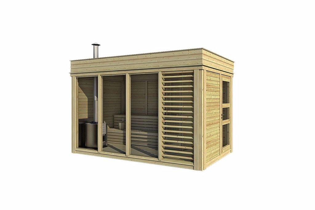 Modern Sauna Cube With Changing Room