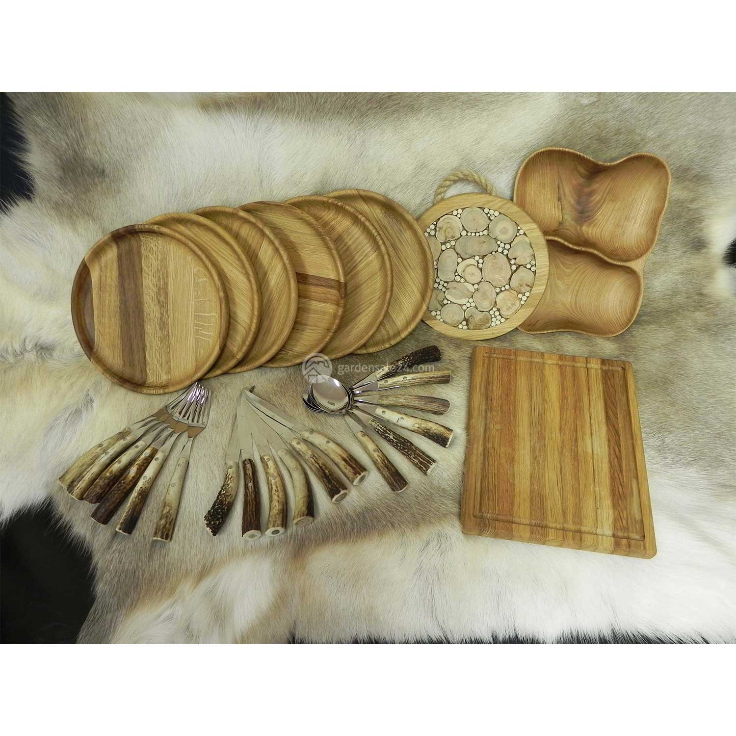 "Wooden Dishes And Flatware Set ""LUXURY"""