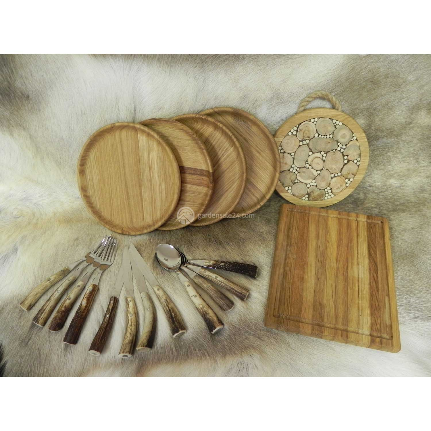 "Wooden Dishes And Flatware Set ""OPTIMAL"""