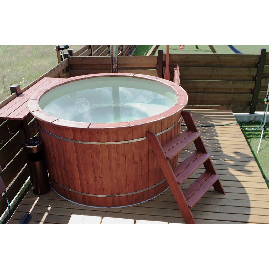 Wooden Hot Tub Made With Plastic Inside - Gardensale24.com