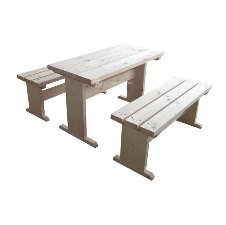 Table & Benches Set For Large Barbecue cabin