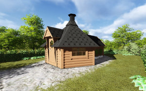 barbecue hut model with extra room