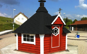 finnish barbecue hut in red colour