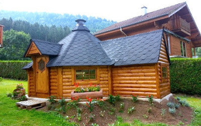 Magnificent large finnish bbq hut for sale for Garden huts for sale