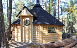 BBQ cabin placed in the forest