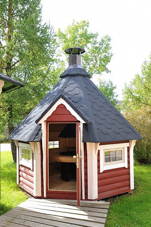 red small garden hut for sale