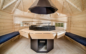 stunning inside view of bbq hut