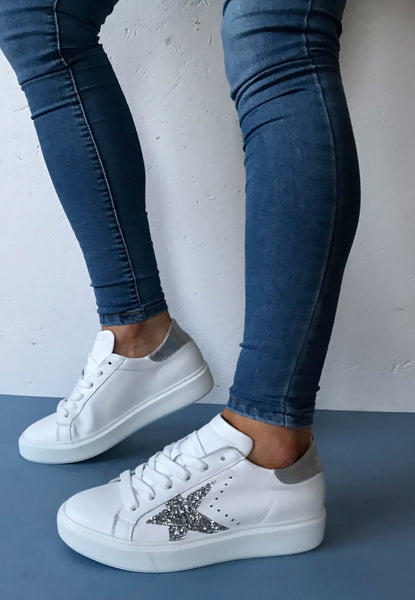 white silver trainers alpe