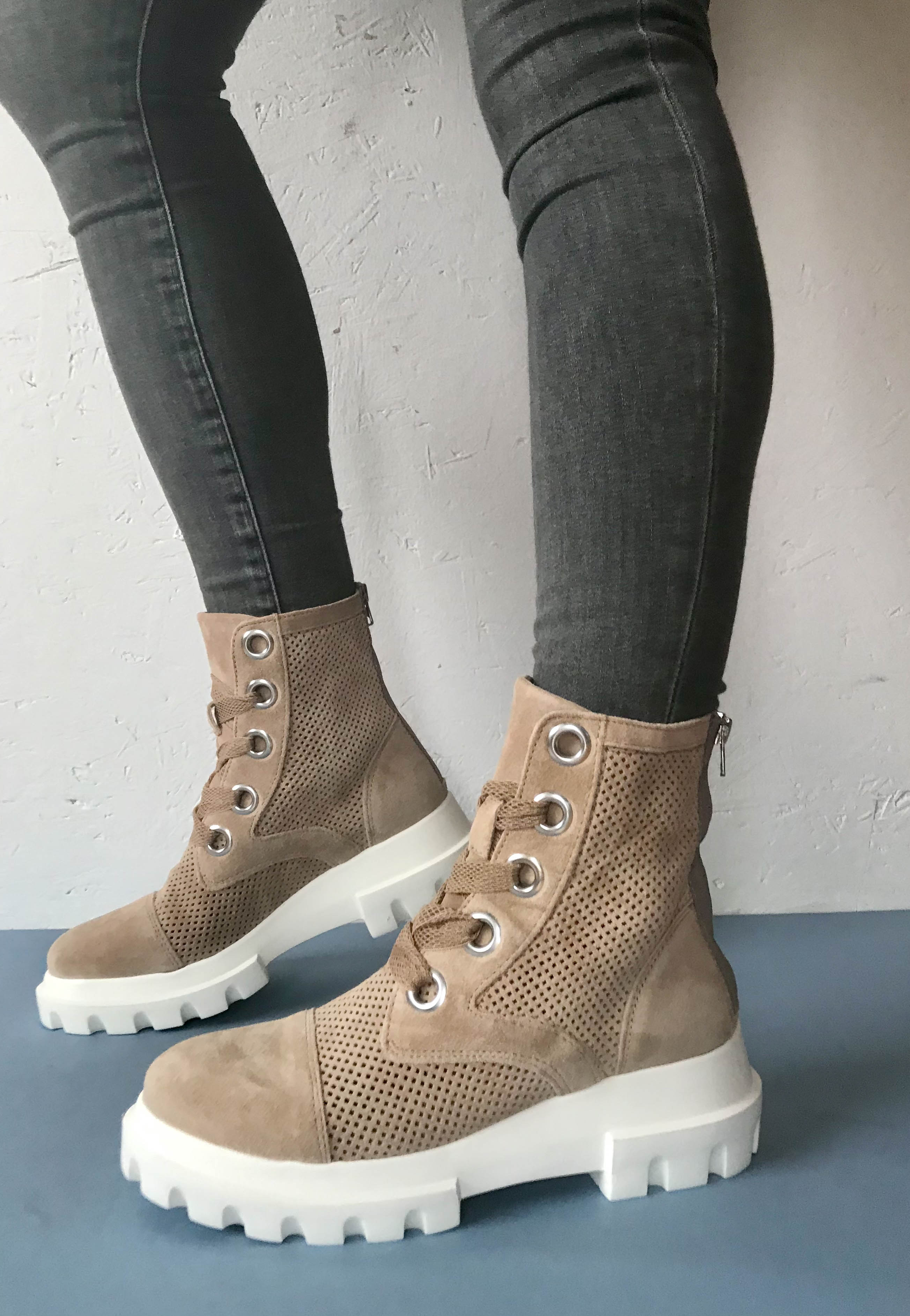taupe biker boots