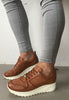 tan leather trainers Carmela