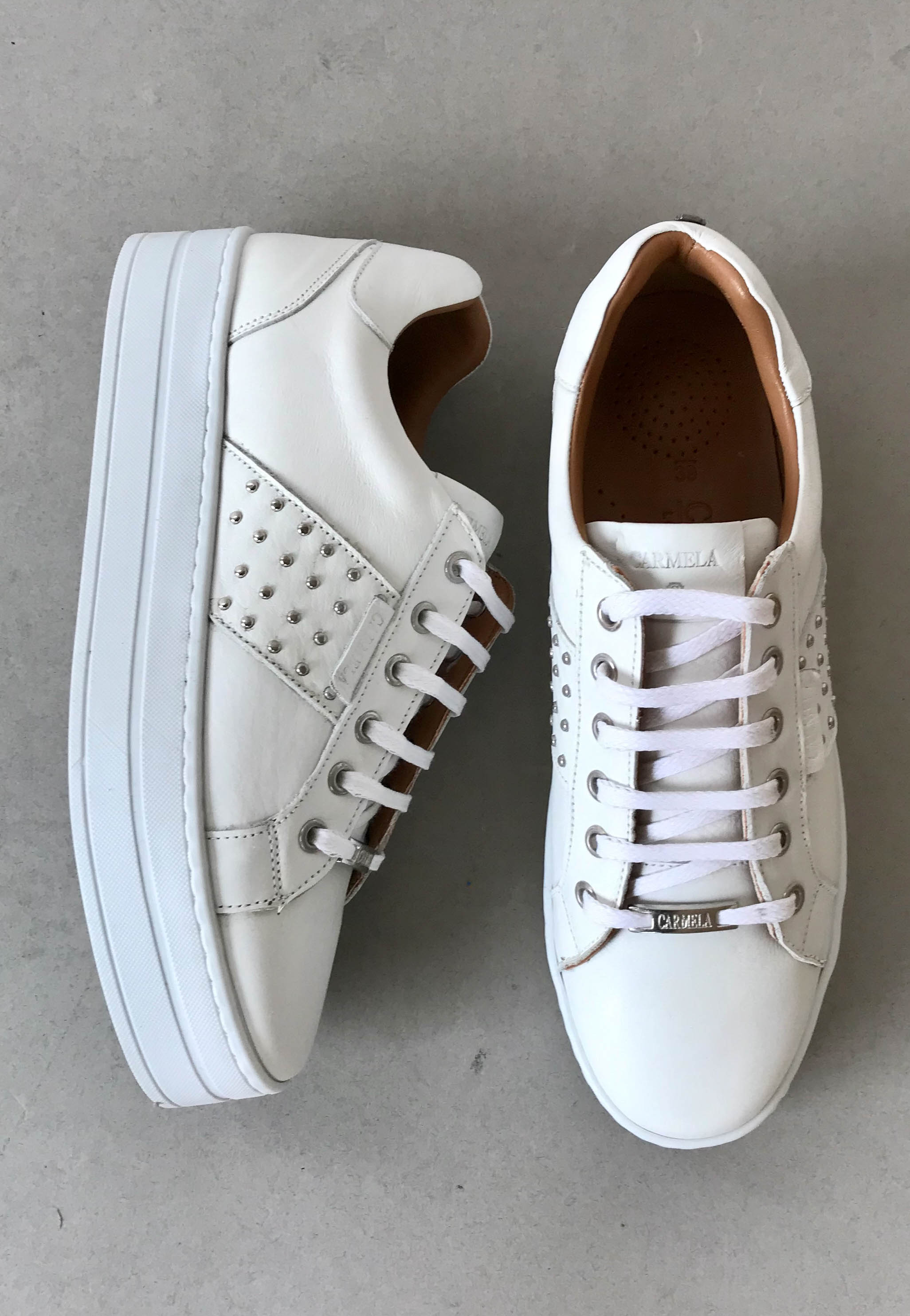 white leather trainers carmela