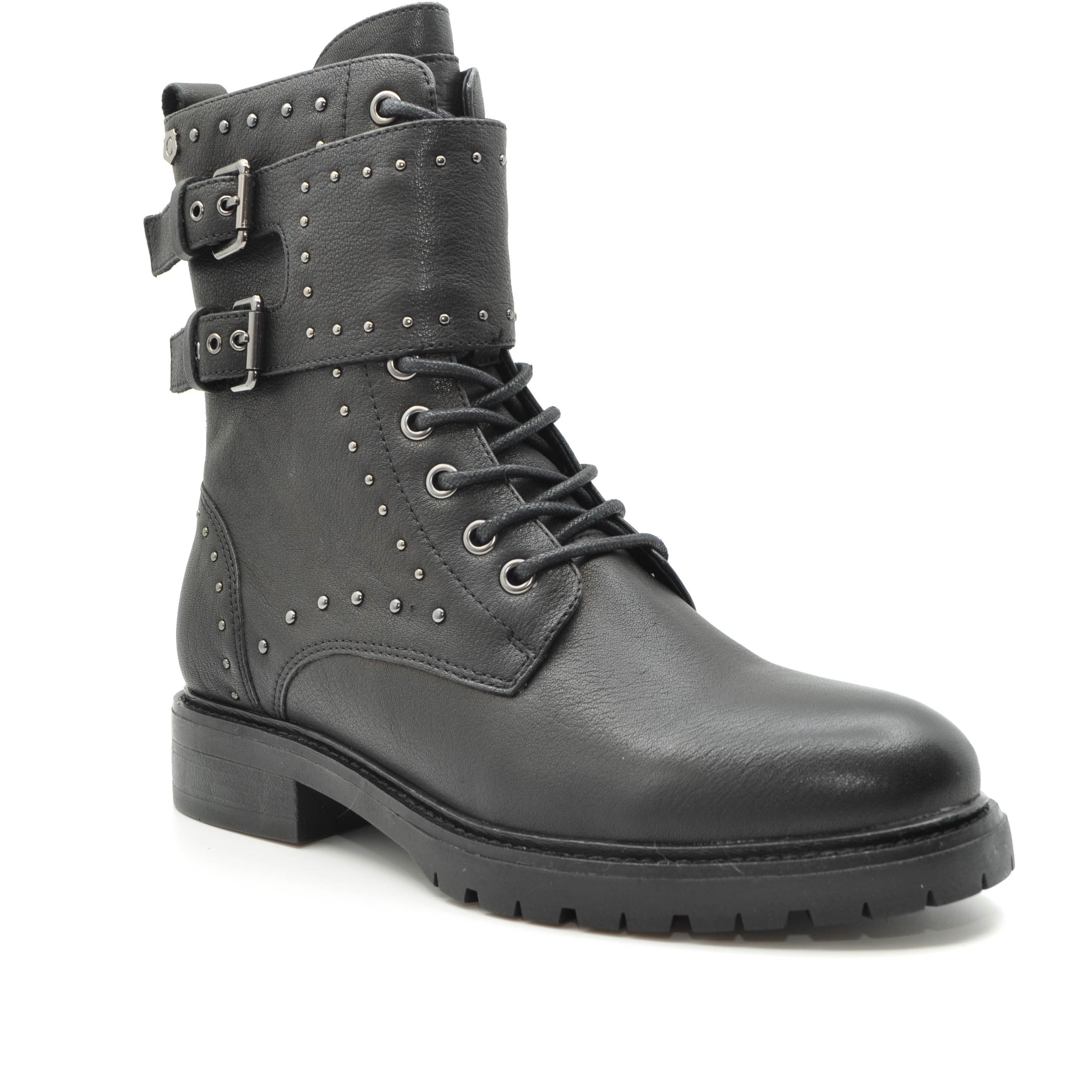 ladies black biker boot
