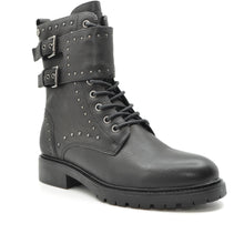 Load image into Gallery viewer, ladies black biker boot