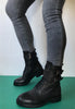 womens black biker boot