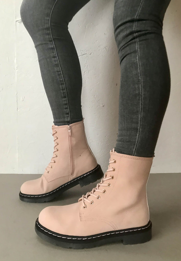 pink lace up boots