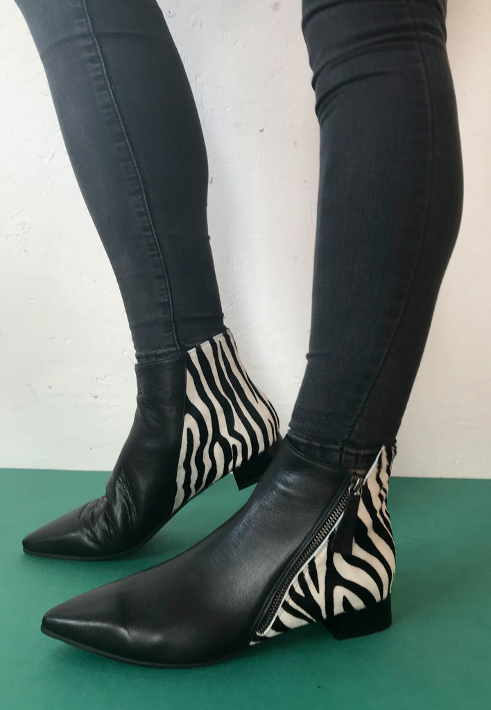 zebra print ankle boots