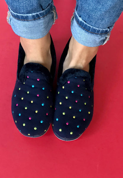 womens slippers navy