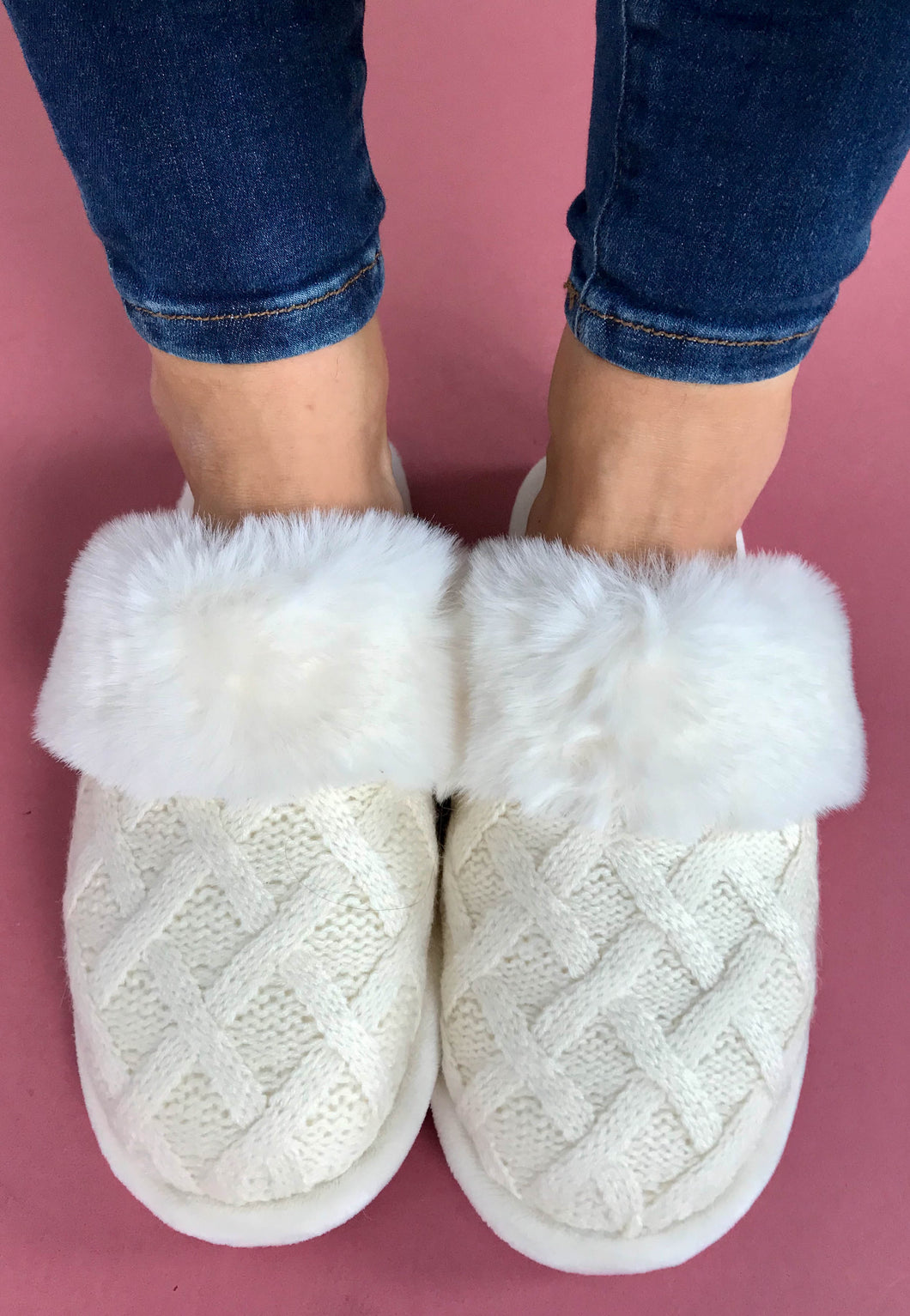 white slippers
