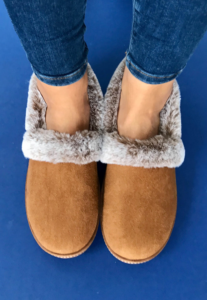 tan womens slippers