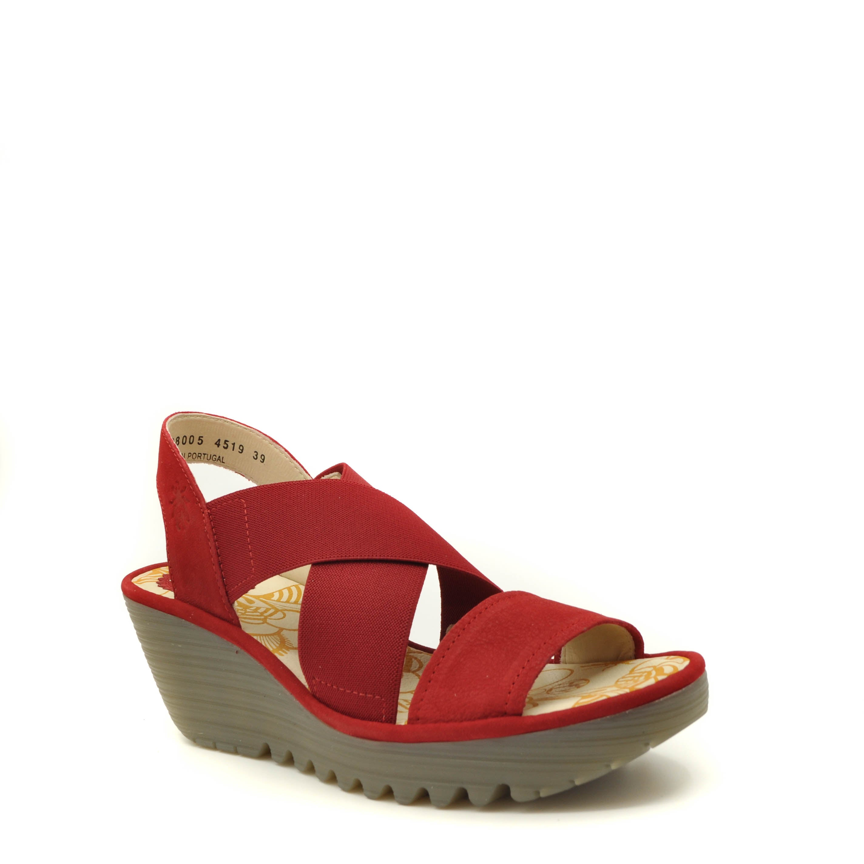 red wedge sandals fly london