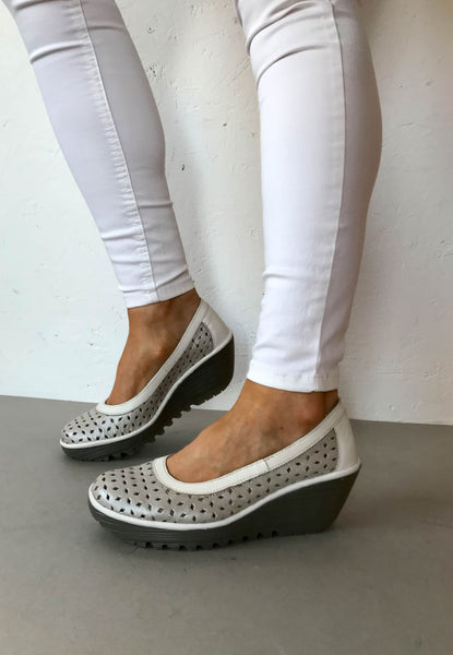 silver wedge shoe