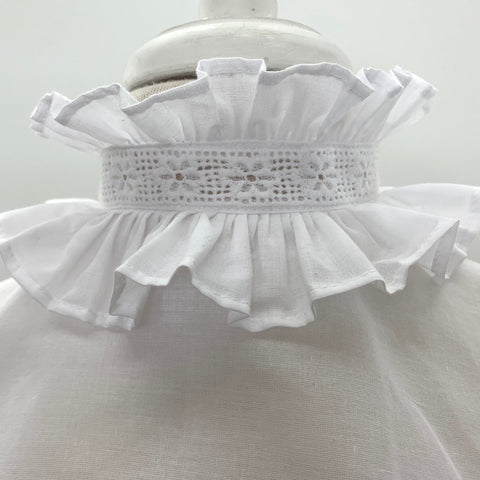 The Spencer Double Ruffle Chemisette in White