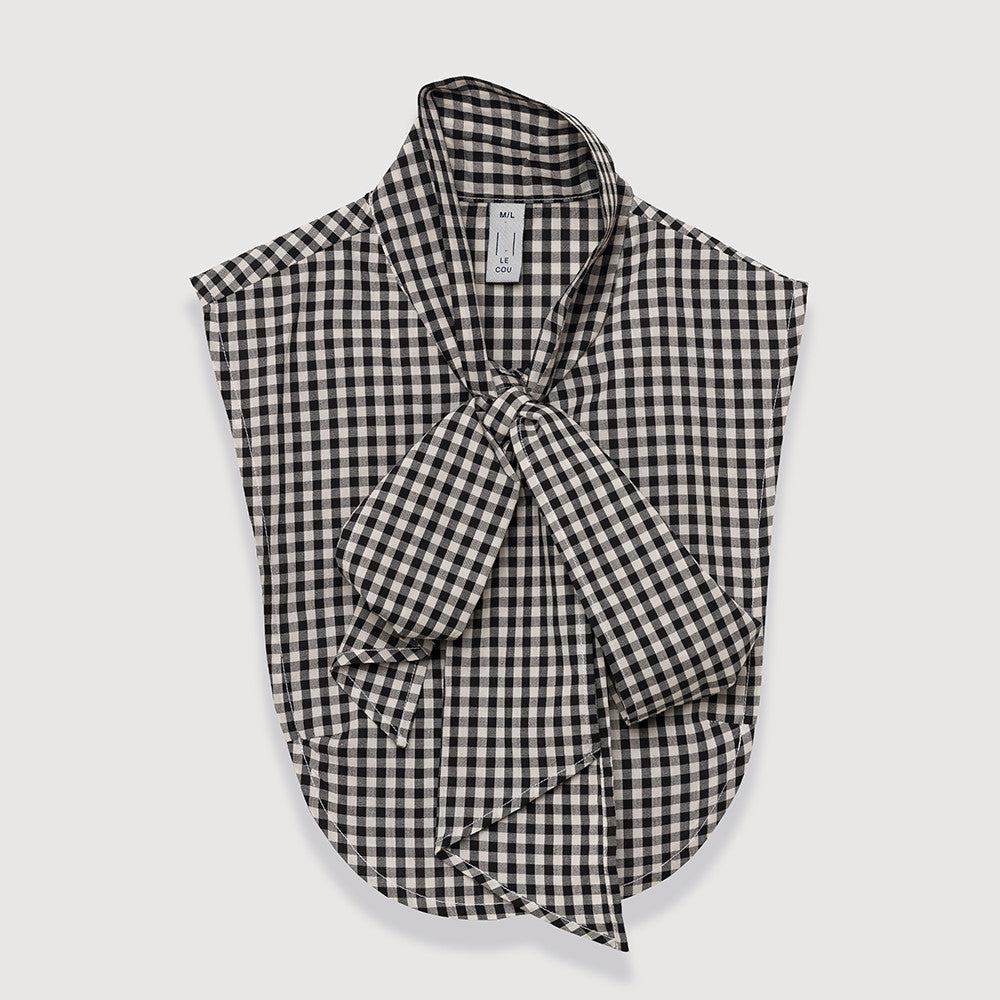 Le Cou Dickey Shirt Miette dickey, mock collar, mock shirt, dickey shirt, dickie, button up, button down, layering piece, pussy bow, bow shirt, bow collar,  black cream gingham