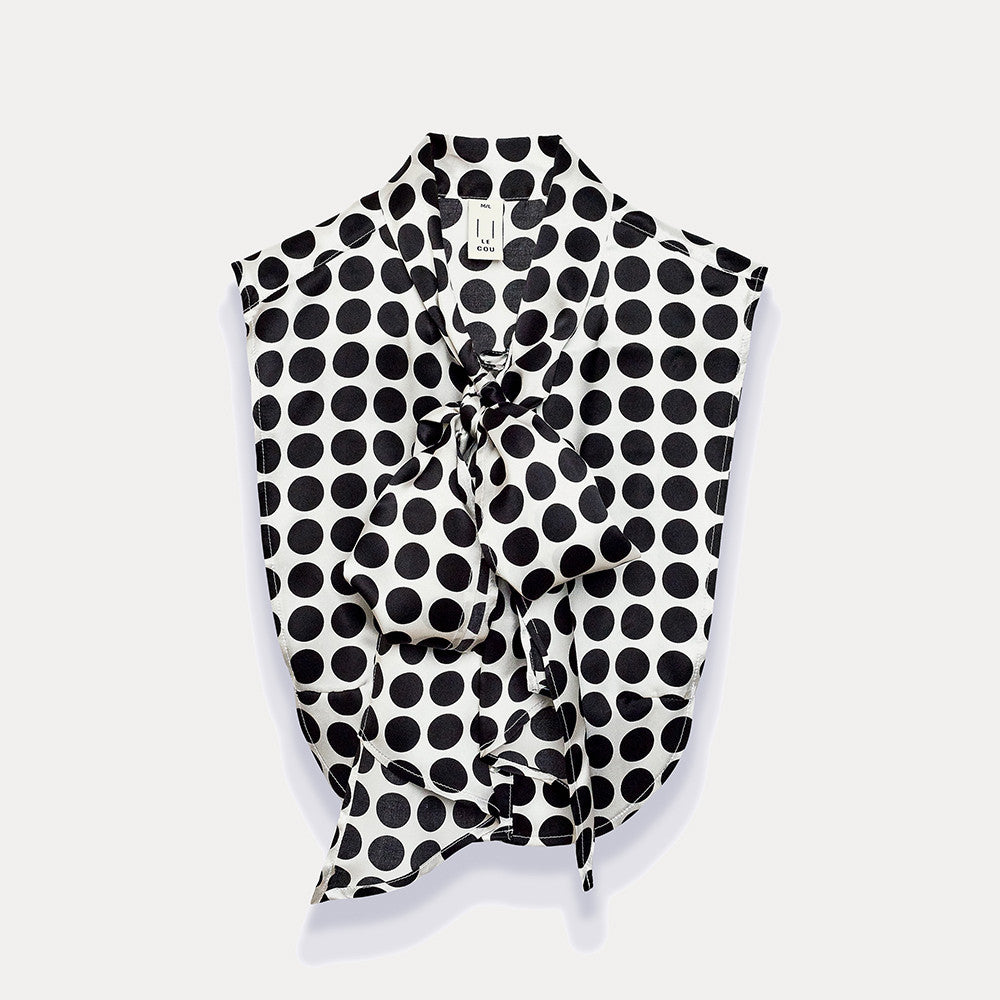 Olympia in White & Black Large Polka Dot Silk