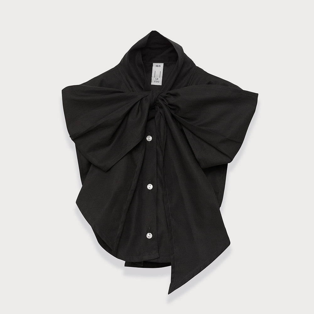 Le Cou Dickey Shirt Miette dickey, mock collar, mock shirt, dickey shirt, dickie, button up, button down, layering piece, pussy bow, bow shirt, bow collar,  black,  100% cotton