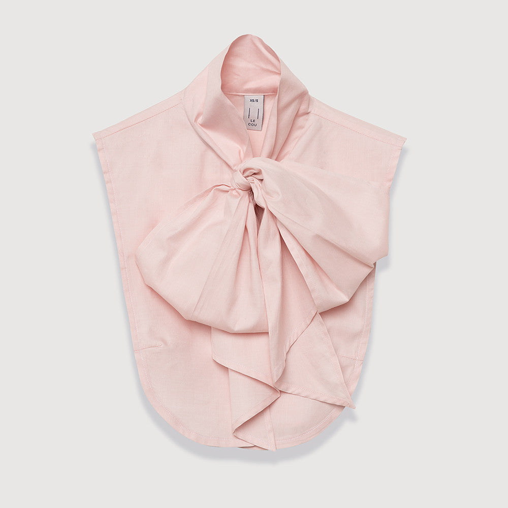 Le Cou Dickey Shirt Miette dickey, mock collar, mock shirt, dickey shirt, dickie, button up, button down, layering piece, pussy bow, bow shirt, bow collar,  petal pink, 100% cotton