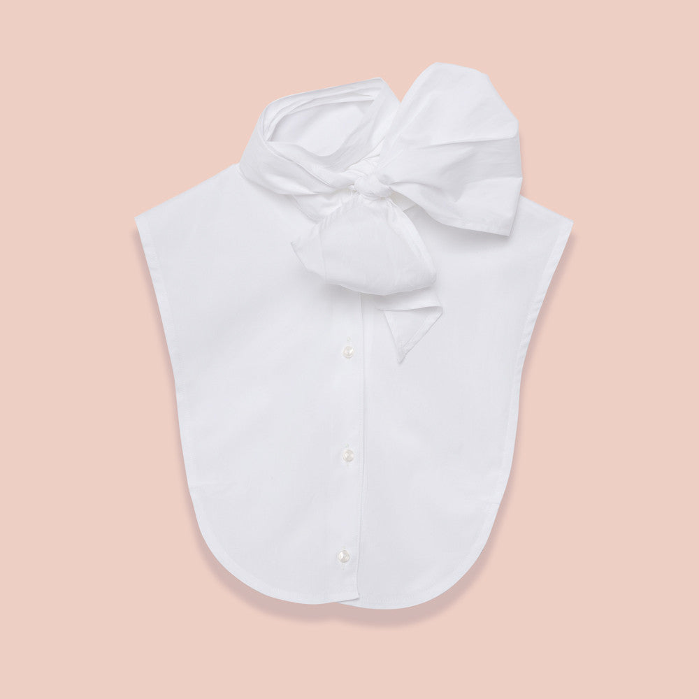 Le Cou Dickey Shirt Miette dickey, mock collar, mock shirt, dickey shirt, dickie, button up, button down, layering piece, pussy bow, bow shirt, bow collar,  white, 100% cotton