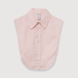 Le Cou Dickey Shirt Miette dickey, mock collar, mock shirt, dickey shirt, dickie, button up, button down, layering piece, point collar, Petal Pink, 100% cotton