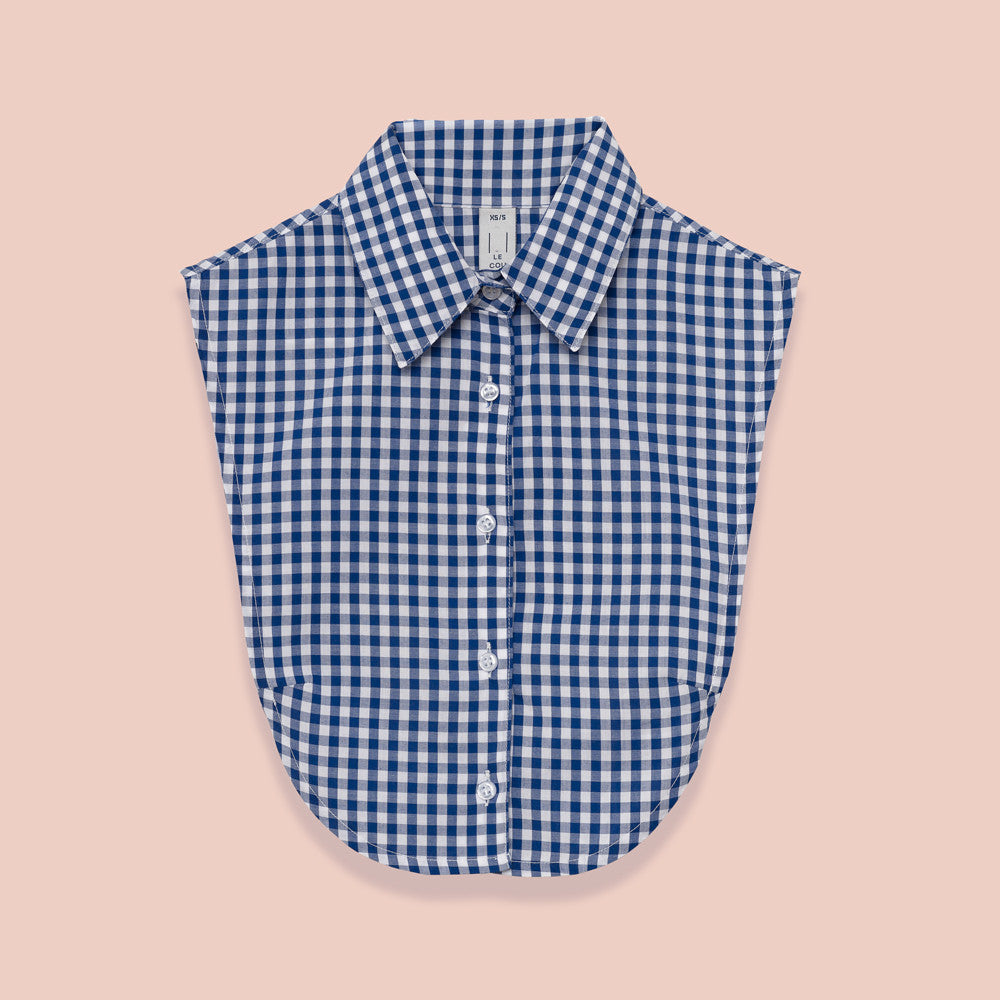 Le Cou Dickey Shirt Miette dickey, mock collar, mock shirt, dickey shirt, dickie, button up, button down, layering piece, point collar,  royal blue gingham, 100% cotton