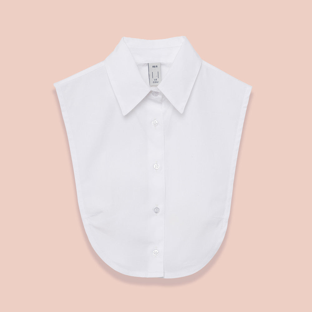 Le Cou Dickey Shirt Miette dickey, mock collar, mock shirt, dickey shirt, dickie, button up, button down, layering piece, point collar,  white, 100% cotton