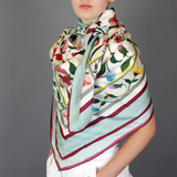 Backyard Flowers 100% Silk Scarf 53