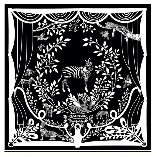 "Performance in Black and White 100% Silk Scarf  35"" x 35"""