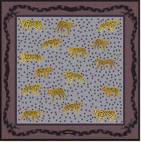 "Yellow Leopards 100% Silk Scarf Bandana 21"" x 21"""