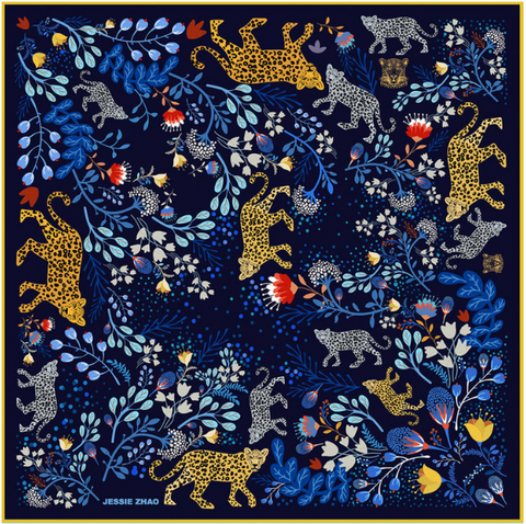 Amazon Rainforest Journey in Blue 100% Silk Scarf Bandana