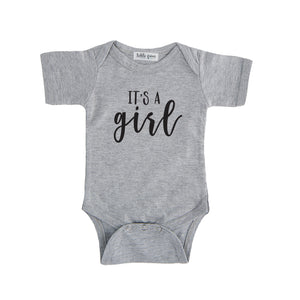 grey it's a girl onesie gender reveal onesie