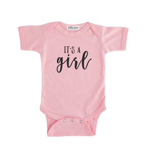 pink it's a girl onesie gender reveal onesie