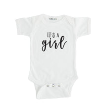 white it's a girl onesie gender reveal onesie
