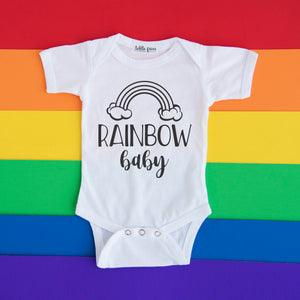Rainbow Baby/Mama Set - Rainbow Pregnancy Announcement Onesie and Tee