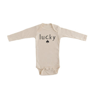 lucky onesie lucky cream baby onesie st patrick's day minimalist onesie for st patrick's day pregnancy announcement onesie