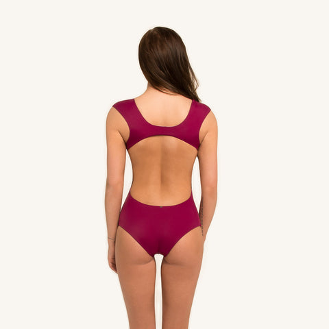 One Piece Coastal Meadows seamless and reversible swimsuit with covered shoulders  in berry color back view