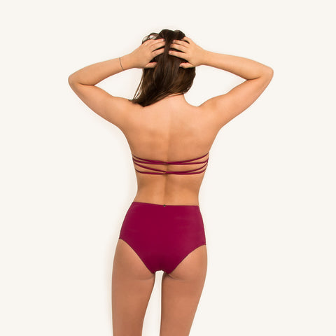 Bikini Bandeau Top in Berry color with removable shoulder straps and elastic back strings back view